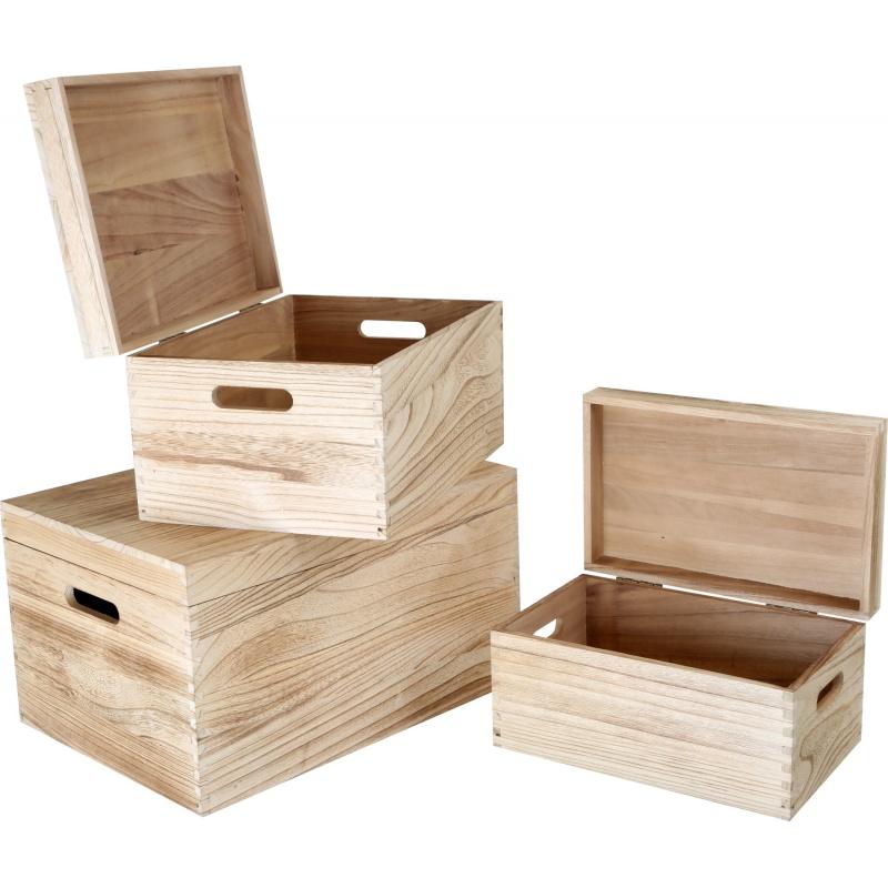Sada dřevěných bedýnek  s víkem