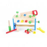 Drevený pracovný stôl a box s náradím 2v1