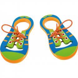 Drevená hračka - Hra Zaviaž si šnúrku - Pár topánok