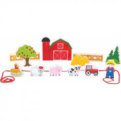 Drevený navliekacie hrací set Farma