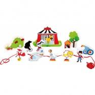 Dřevěný navlékací hrací set Cirkus