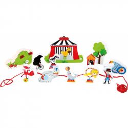 Drevený navliekacie hrací set Cirkus