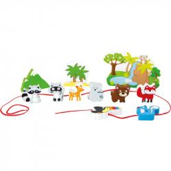 Drevený navliekacie hrací set Safari