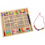 Dřevěné navlékací korálky - Abeceda v krabičce