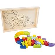 Dřevěné puzzle ABC dinosaurus