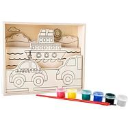 Dřevěný barevný 3D obrázek - Doprava