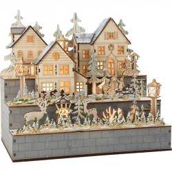 Drevená lampa zimné dediny