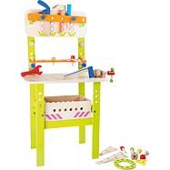 Drevené hračky - Profesionálny veľký pracovný stôl s náradím