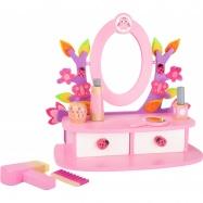 Dřevěný kosmetický stoleček růžový