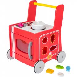 Drevený vozíček kuchynka červená