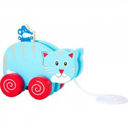 Drevená ťahacia mačka s myšou