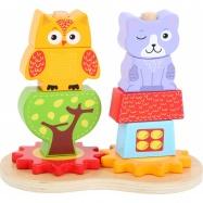 Drevené kocky sova a mačka