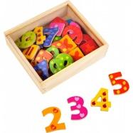Dřevěné barevné magnetické číslice 40ks