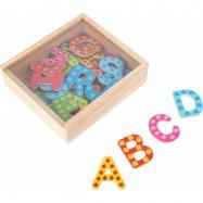 Dřevěné barevné magnetické písmenka 37 ks