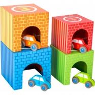 Small Foot Dřevěné skládací kostky s auty