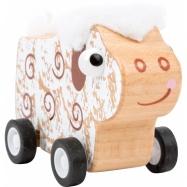 Small Foot Dřevěná ovečka na kolečkách bílá