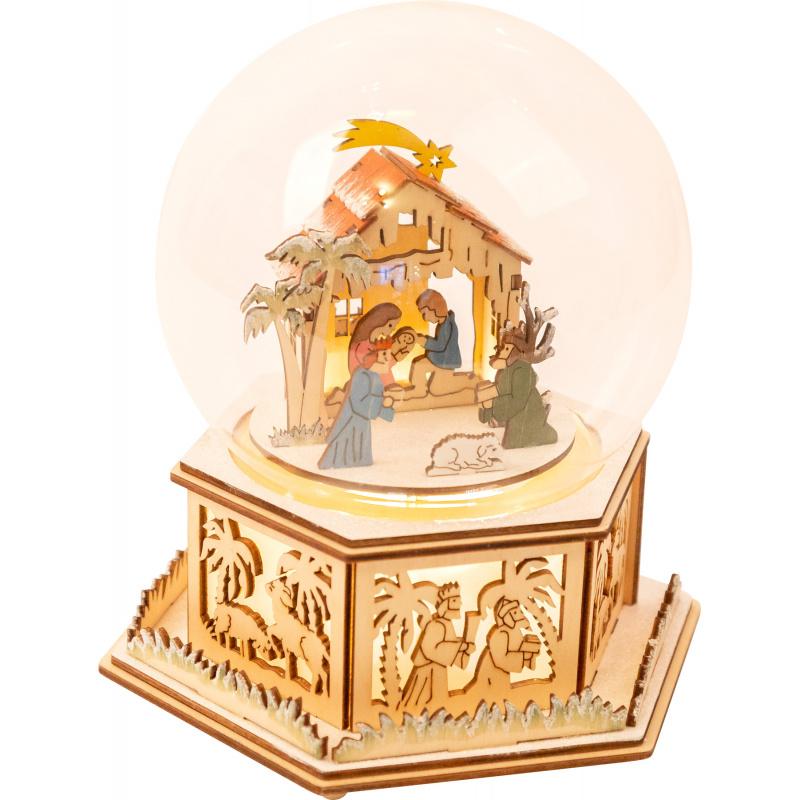 Small Foot Sněhová koule a hrací skříňka Betlém