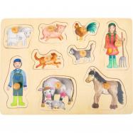 Small Foot Dřevěné puzzle Život na farmě