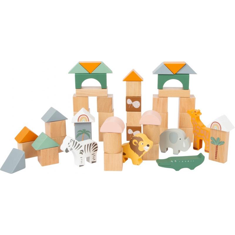 Small Foot Dřevěné stavební kostky Safari 50 ks