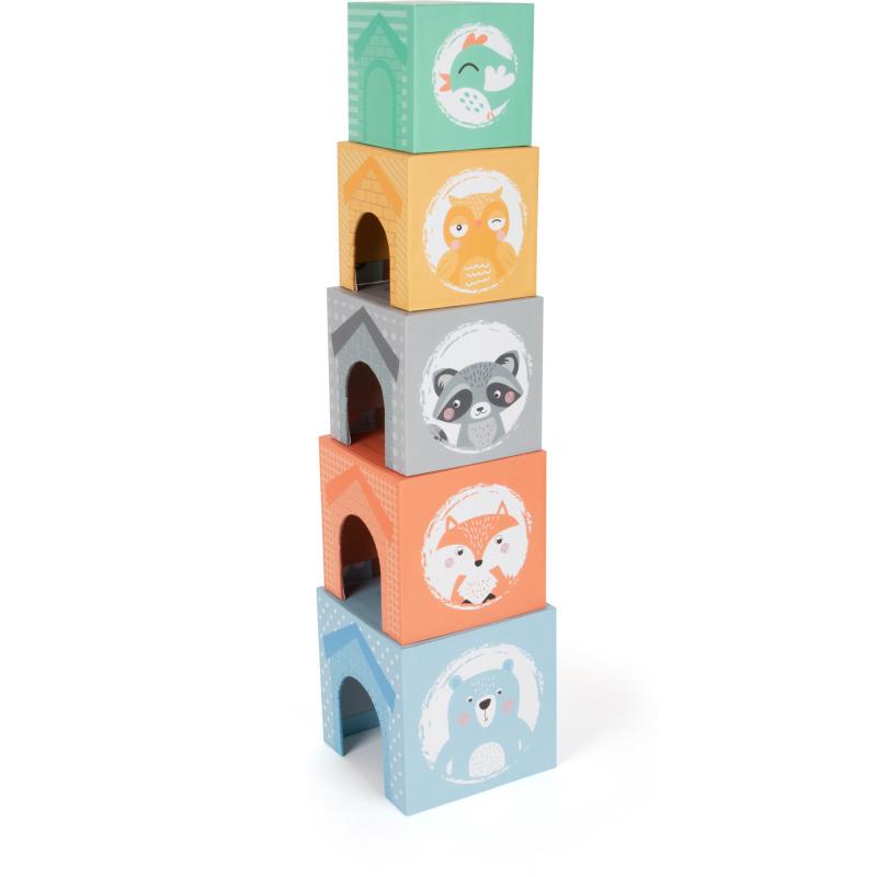 Small Foot Składana pastelowa wieża ze zwierzętami