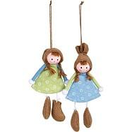 Dřevěná dekorace - Dekorační panenky Ema - set