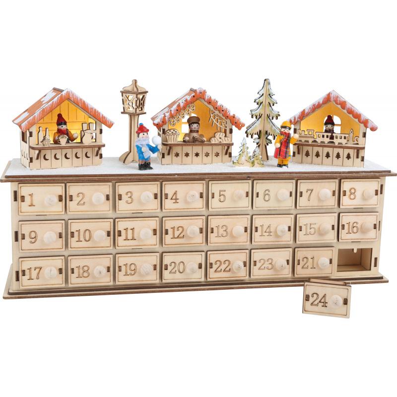 Small Foot Dřevěný adventní kalendář vánoční trhy