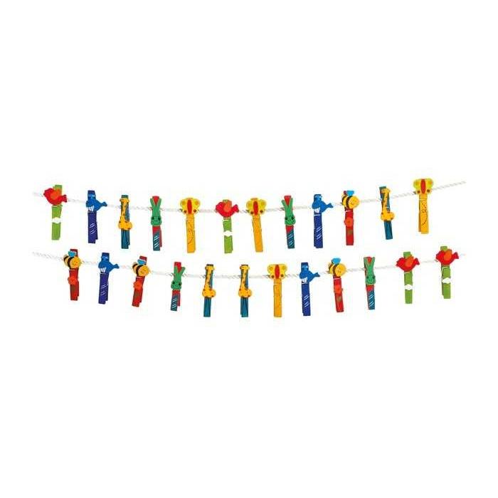 Dřevěné dekorativní kolíčky na prádlo - Zvířata 24ks