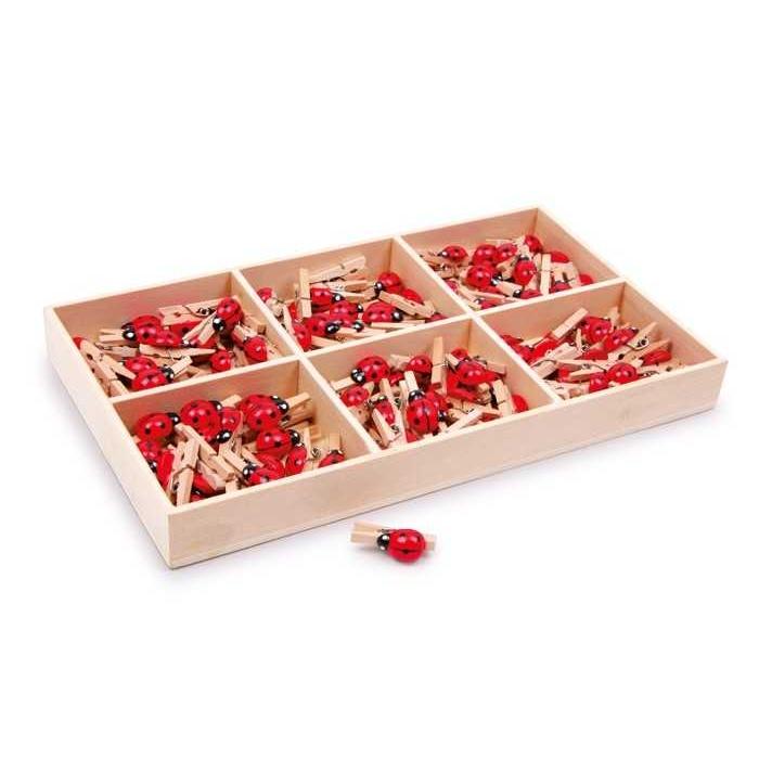 Dřevěné dekorativní kolíčky na prádlo - Berušky 1ks