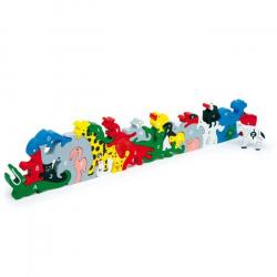 Puzzle Układanka, zwierzątka z literkami i cyferkami