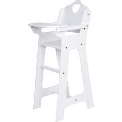 Drevená stolička pre bábiky biela veľká