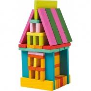 Dřevěné stavební kostky barevné 75ks