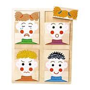 Dřevěné hračky -  Vkládací puzzle obličeje