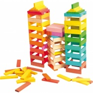 Dřevěné stavební kostky barevné 150ks