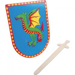 Drevené hračky - Dračí štít s mečom
