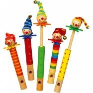 Dřevěné hračky - Píšťalky klauni 5 ks