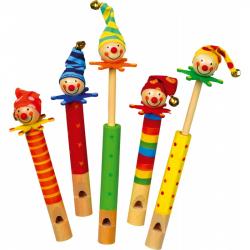 Drevené hračky - Píšťalky klauni 5 ks