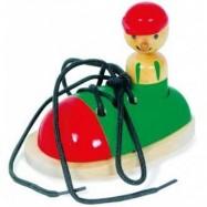 Dřevěná hračka - Hra Zavaž si tkaničku - Bota s panáčkem