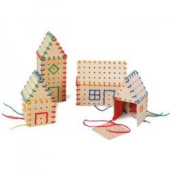 Drevená motorická hračka - Hra na prevliekanie Stavebné prvky