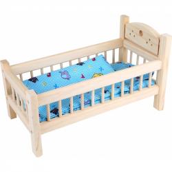 Drevené hračky - Postieľka pre bábiky prírodná