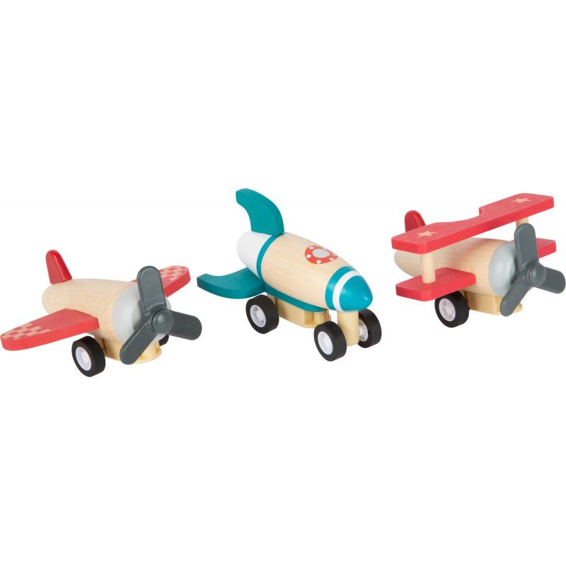 Small Foot Drewniane samoloty nakręcane 3 szt