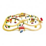 Dřevěné hračky - Dřevěná vláčkodráha visutá dráha 101 ks