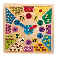 Zegar edukacyjny, różnobarwny