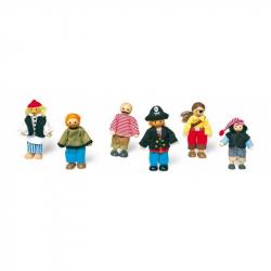 Drevené hračky - Bábiky do domčeka - Postavičky piráti 6ks