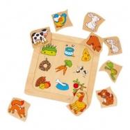 Dřevěné hračky -  Vkládací puzzle - Co zvířátka jí?