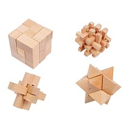 Drevené hry - drevené hlavolamy set 4ks
