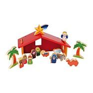 Drevené hračky - Detský drevený farebný betlem