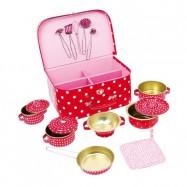 Dětský růžový piknikový kufr s puntíky
