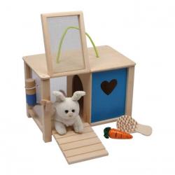 Dřevěné hračky - Plyšový králík v králíkárně s doplňky