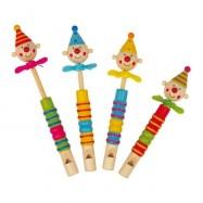Detská drevená píšťalka s klaunom a vrtuľkou