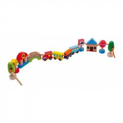 Drevená hračka - prevliekanie - Navliekanie mesto